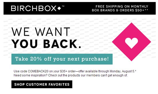 Win Back Your Unengaged Email Subscribers - Birchbox Win Back Email