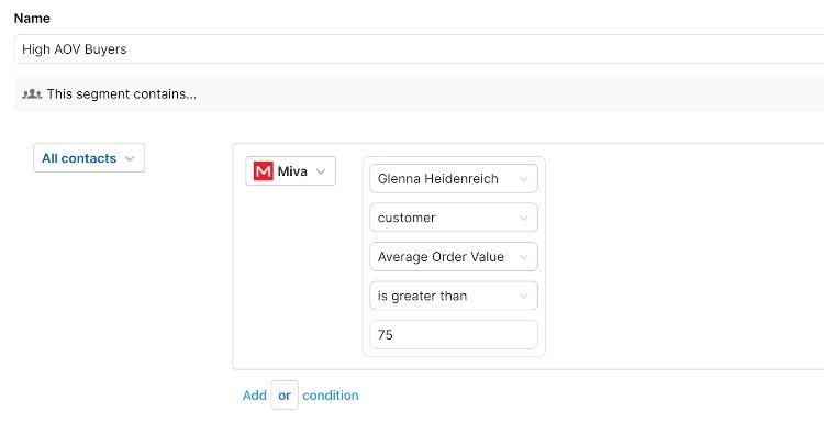 sendlane-email-segmentation-miva-aov