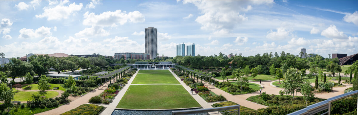 Panoramic view of Hermann Park, a popular place to go in the Museum District