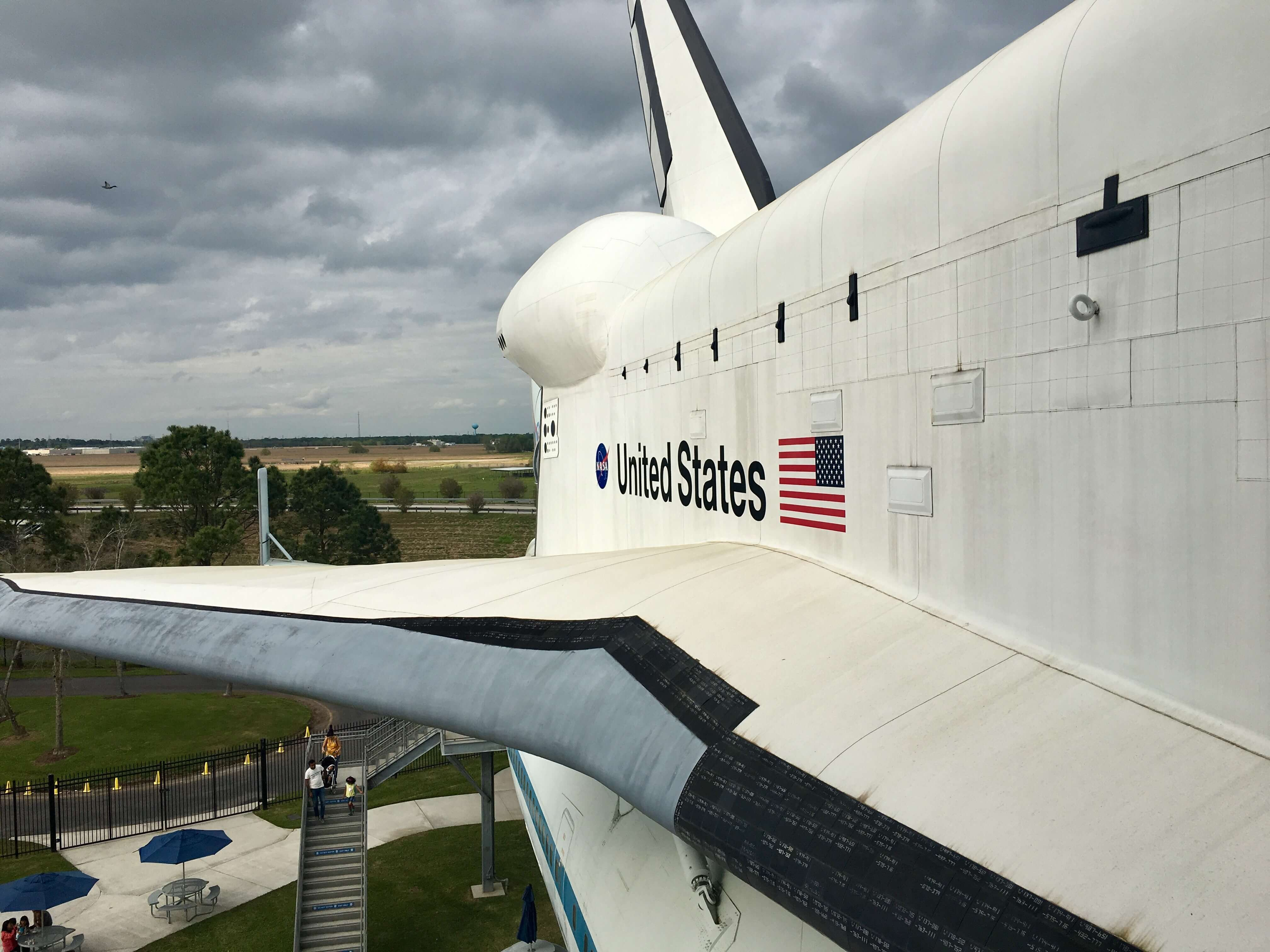 A photo of the Space Shuttle replica at Space Center Houston, a must-do attraction in Houston