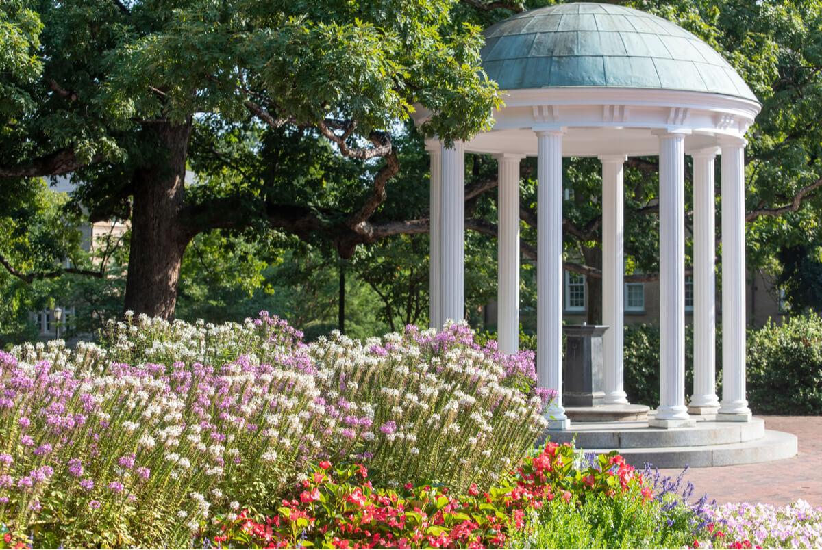 "Photo of the ""Old Well"" at UNC Chapel Hill, modeled after after the Temple of Love in the Gardens of Versailles"