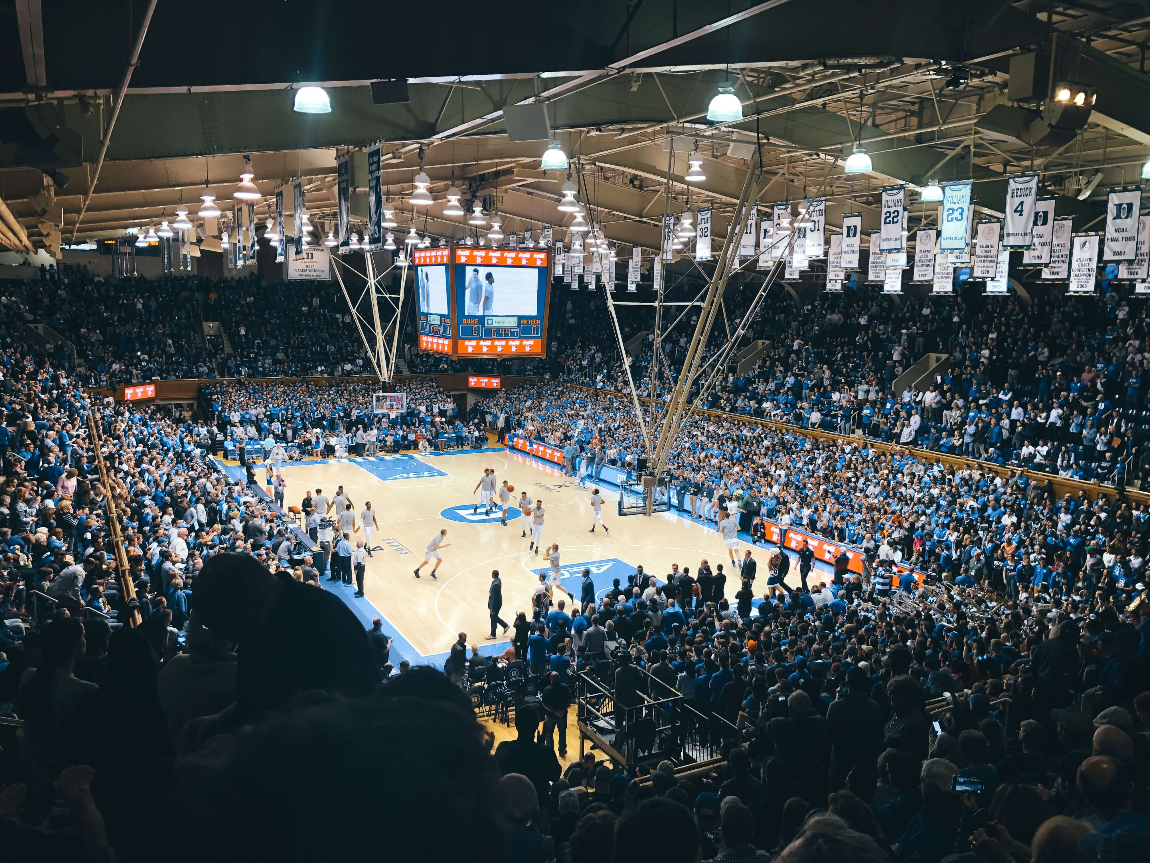 photo of a Duke basketball game in Durham, NC