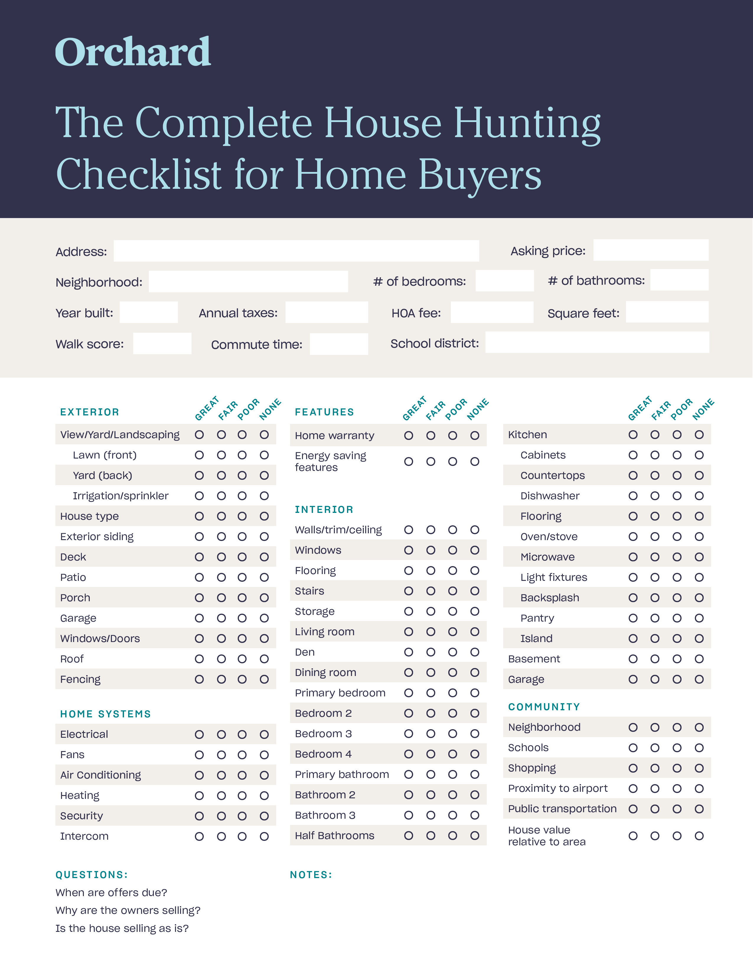 house hunting checklist for homebuyers