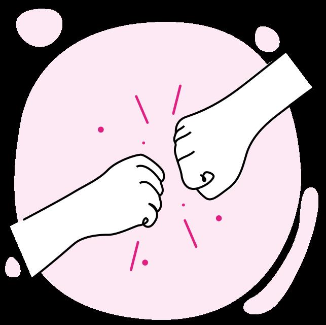 Duas mãos batendo e celebrando.