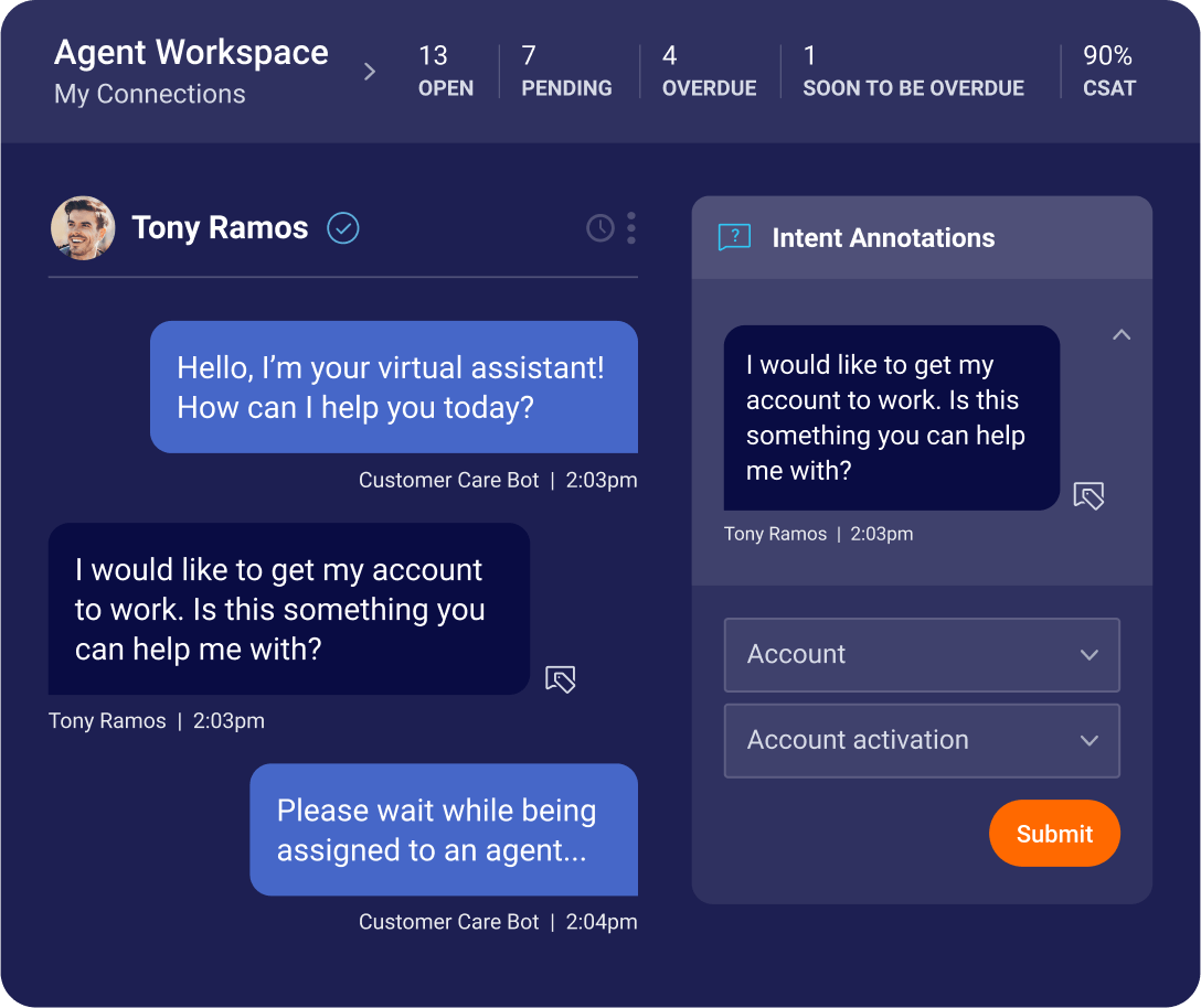 Using the Agent Workspace to help understand user intents