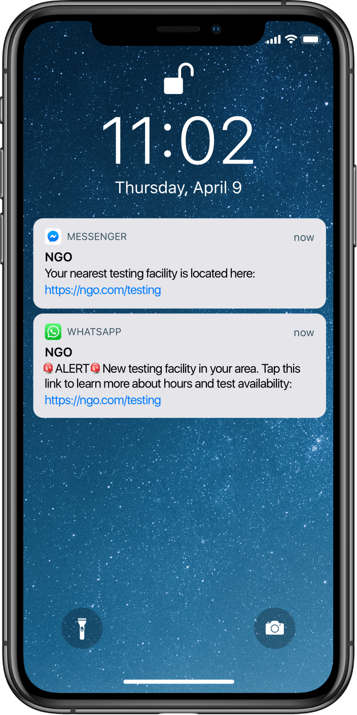 Phone with NGO notifications