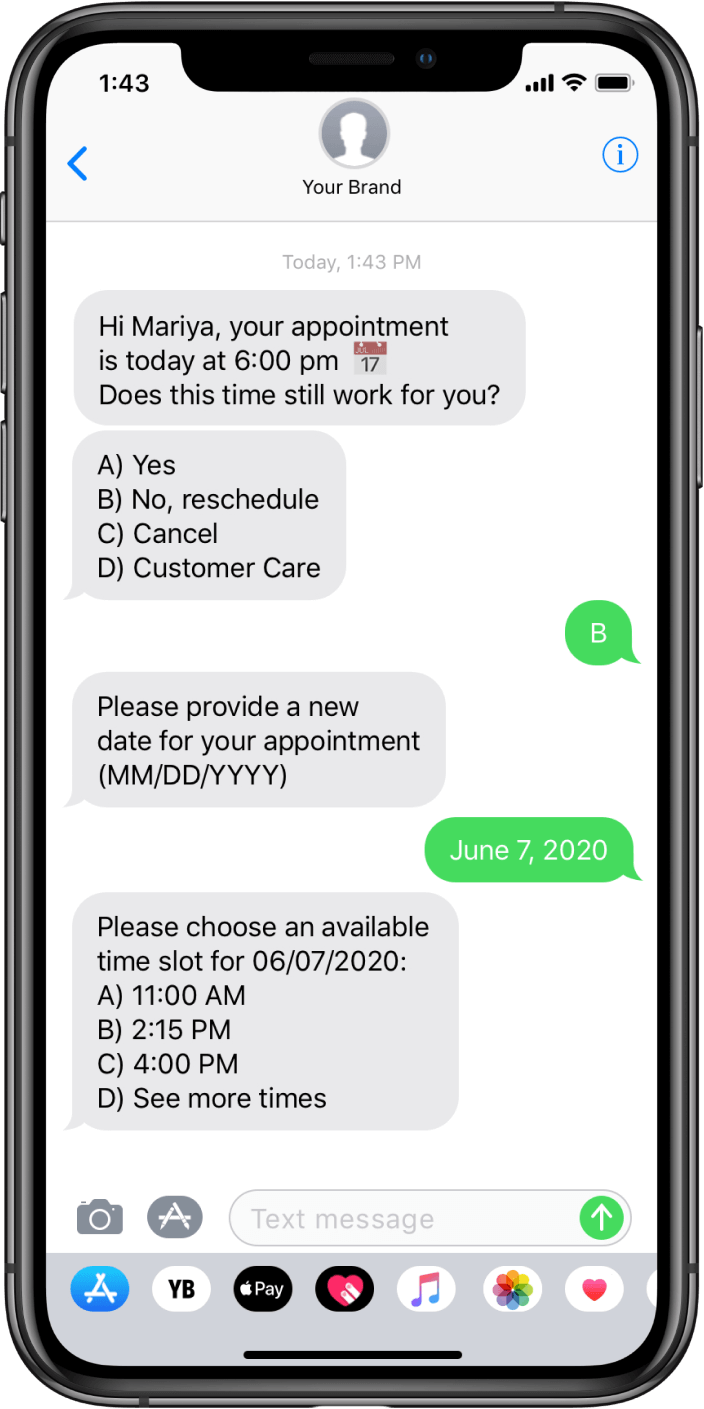 Brand and consumer talking over SMS