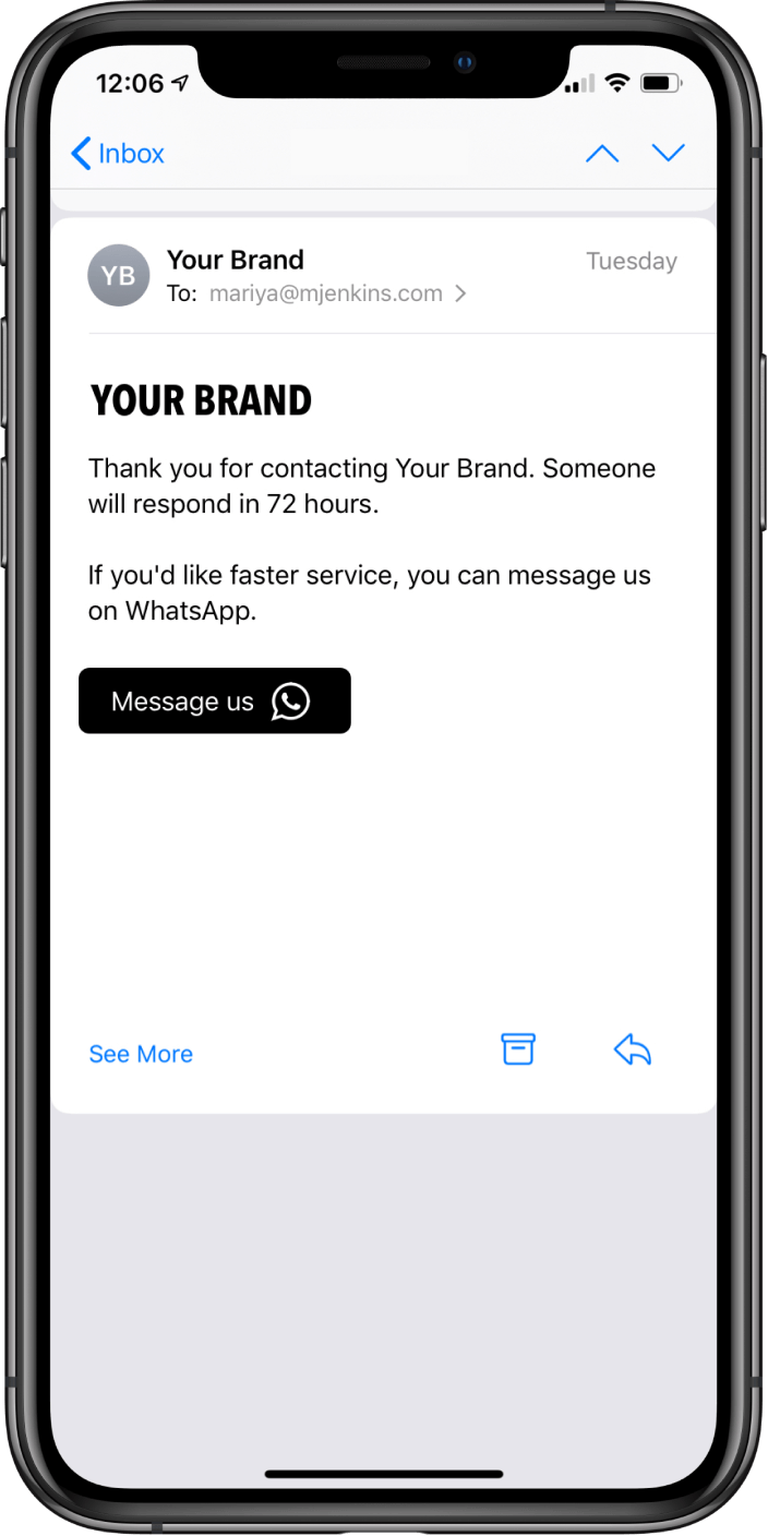 An email with a button to directly message the brand