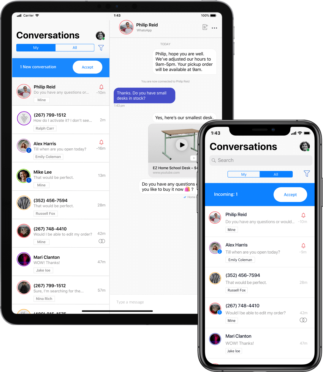 Showing how Conversation Manager can be used on mobile devices