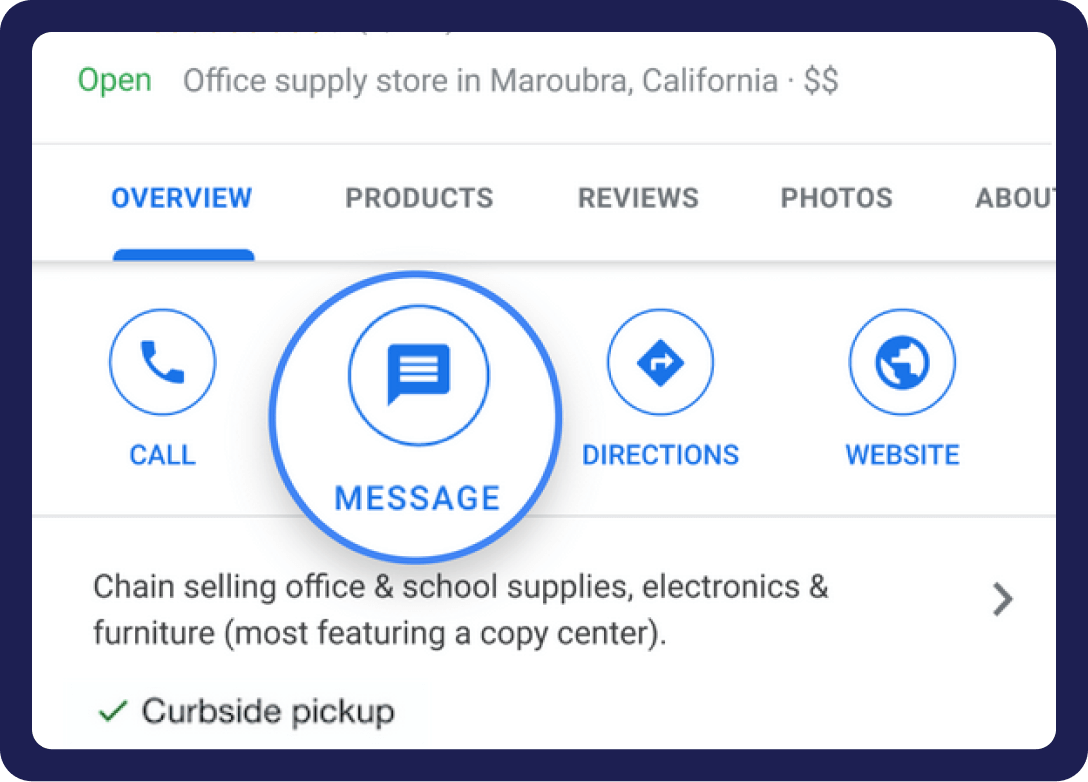 Message button highlighted on the Google Maps listing