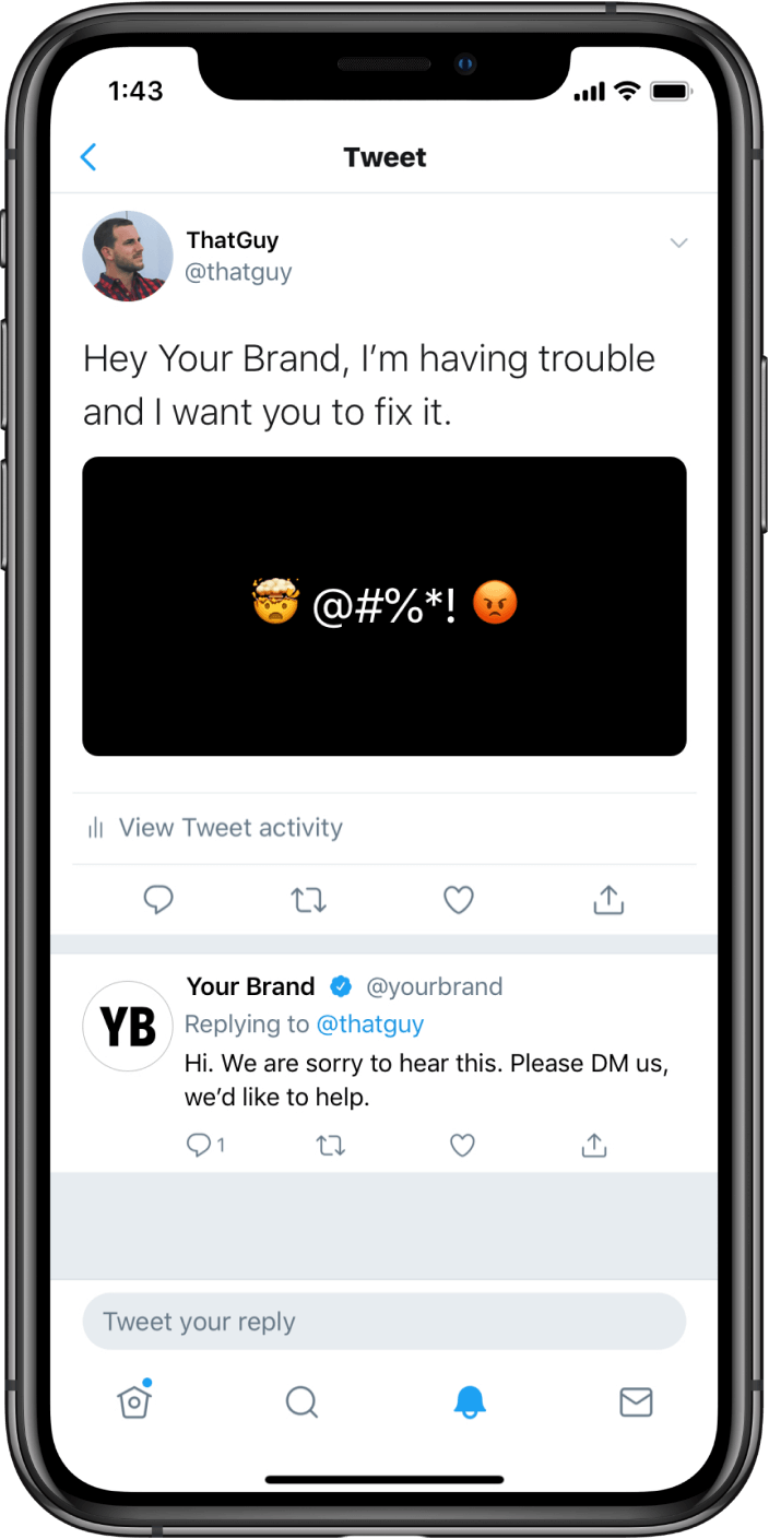 Brand responding to users Tweet on Twitter App