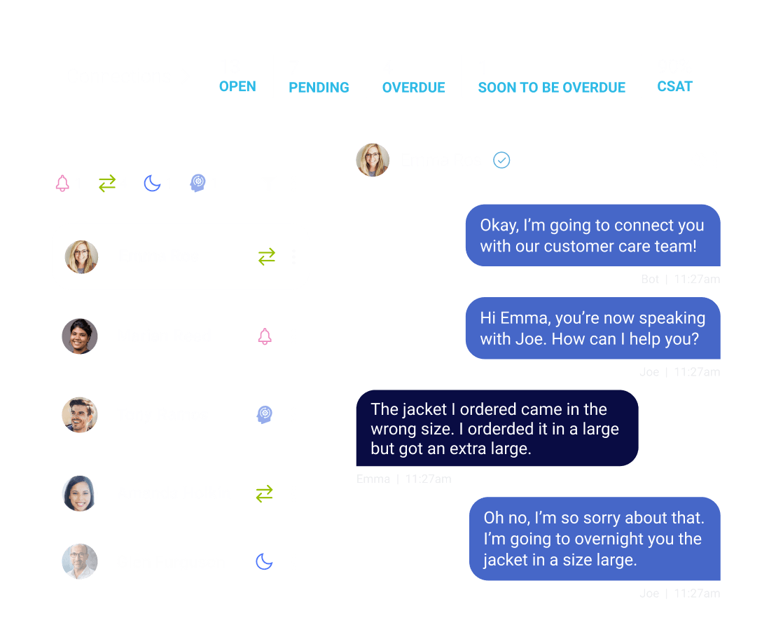 Viewing a conversation within Conversational Cloud
