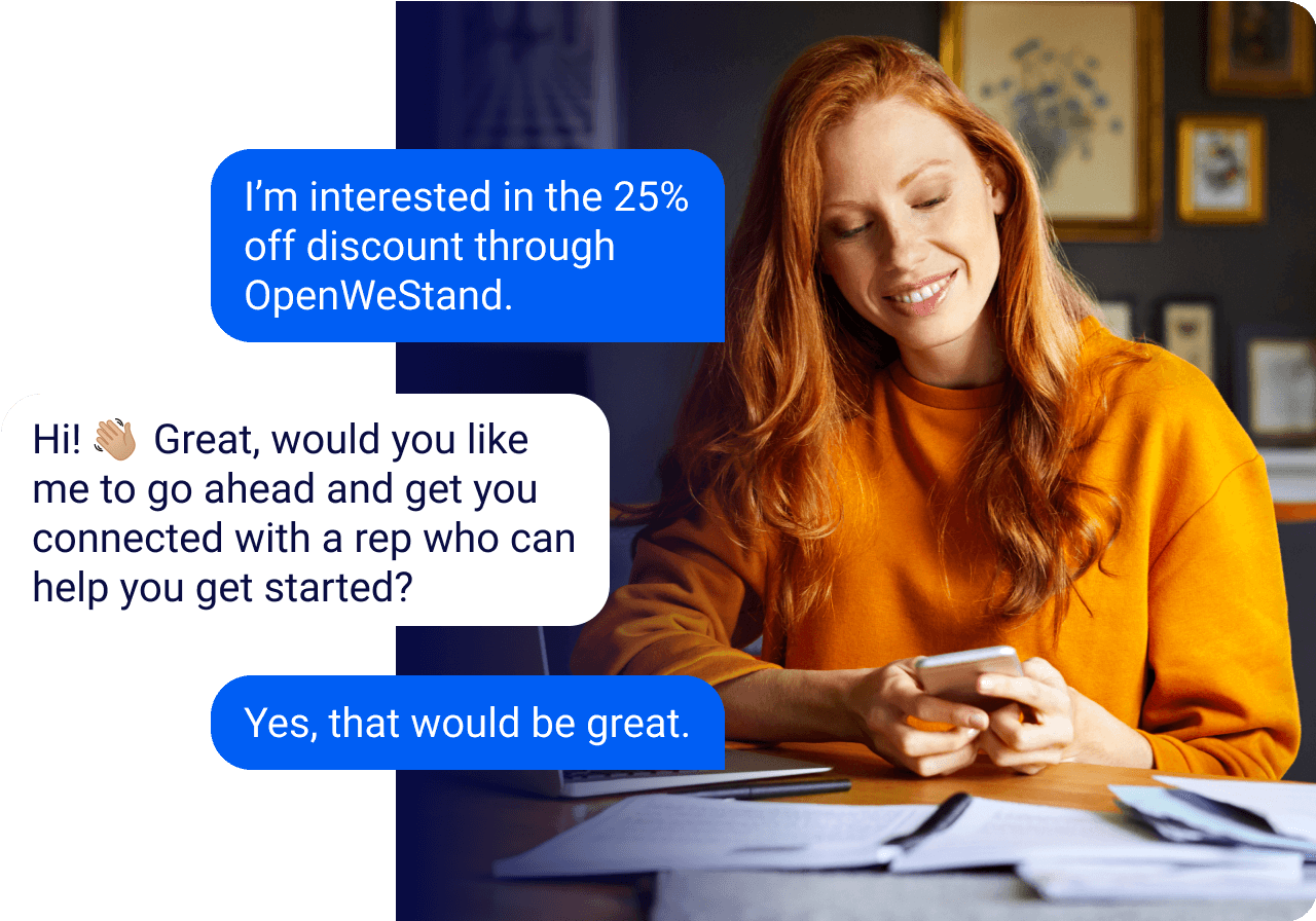 Woman on phone using sms to get the OpenWeStand discount