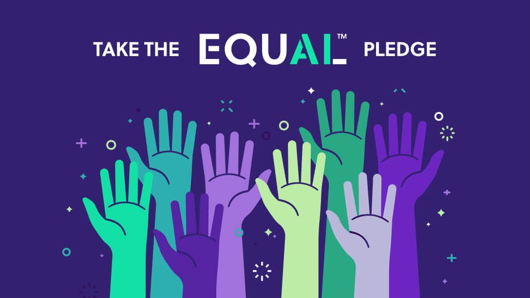 Raised hands to take the EqualAI Pledge