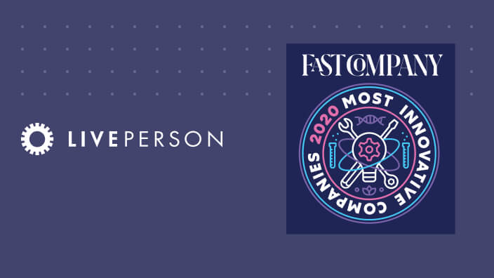 LivePerson's logo next to Fast Company's Most Innovative Companies 2020 award logo