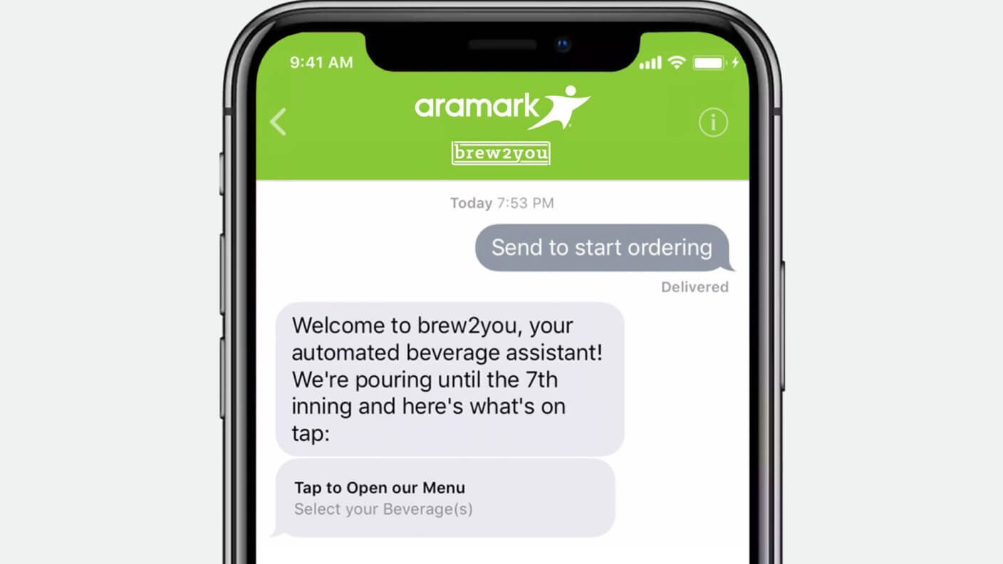 Conversation on Apple Business Chat showing Aramark's chatbot
