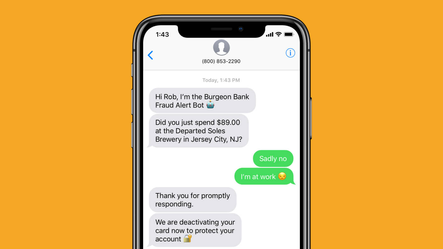 Example of how chatbots can help protect your baking information with alerts about credit or debit card usage