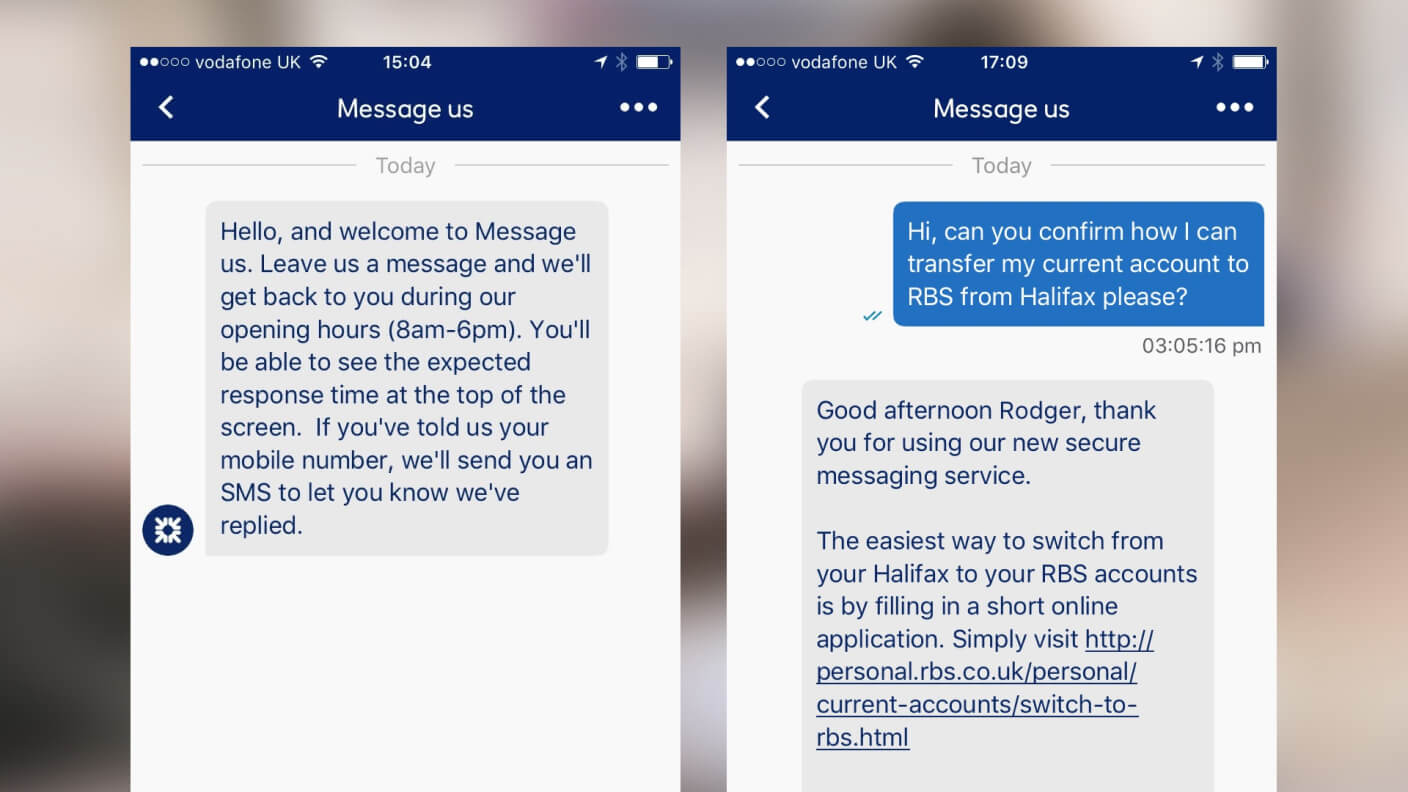 Consumer gets help via text to transfer an account to RBS