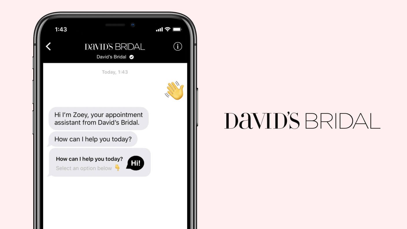 Example conversation where David's Bridal concierge bot greets a bride