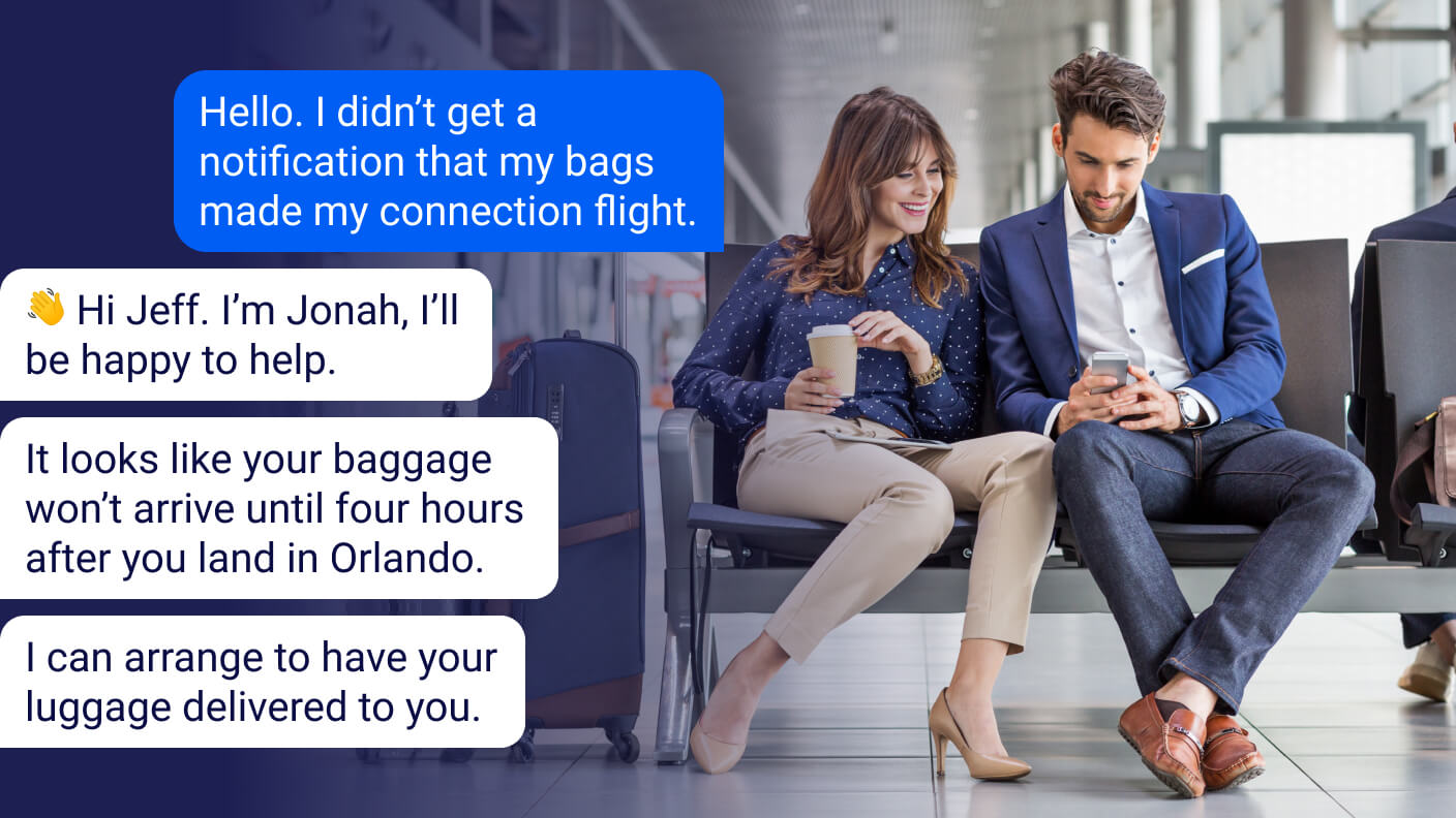 Airline passengers check on bags via messaging