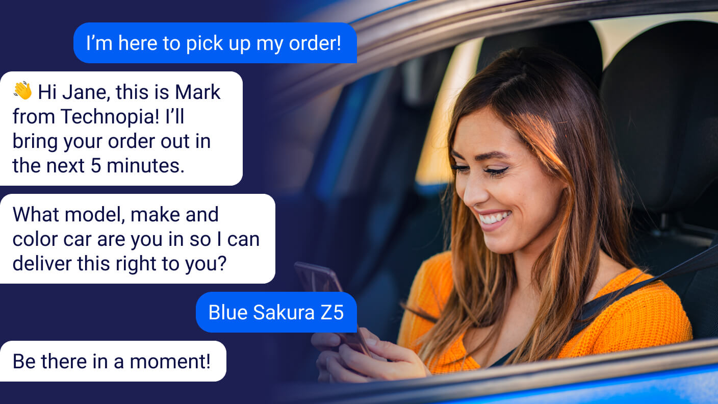 Curbside pickup via text message example