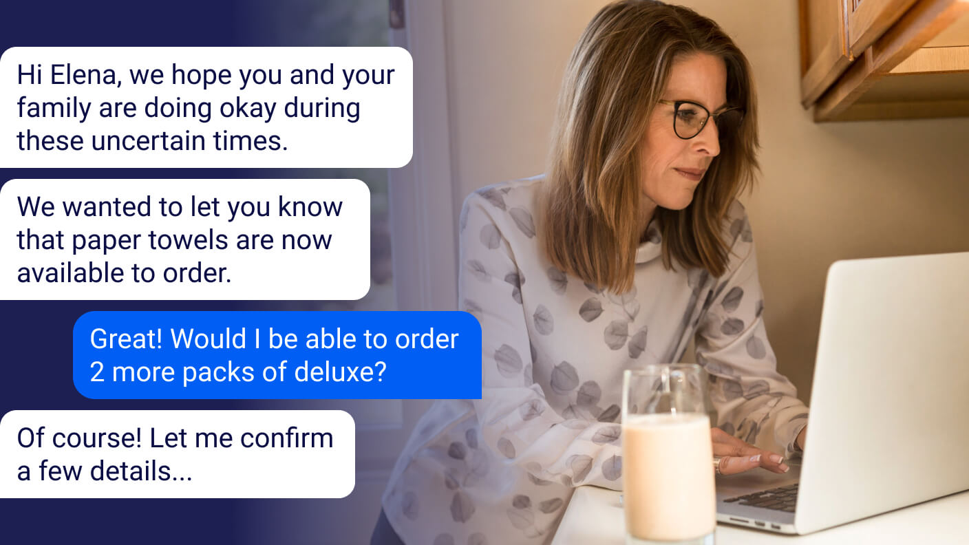 Chatbot sending proactive message to a customer