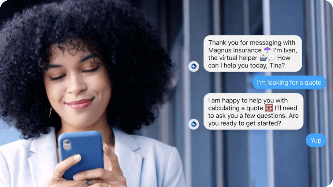 Using messaging to shop for insurance plans