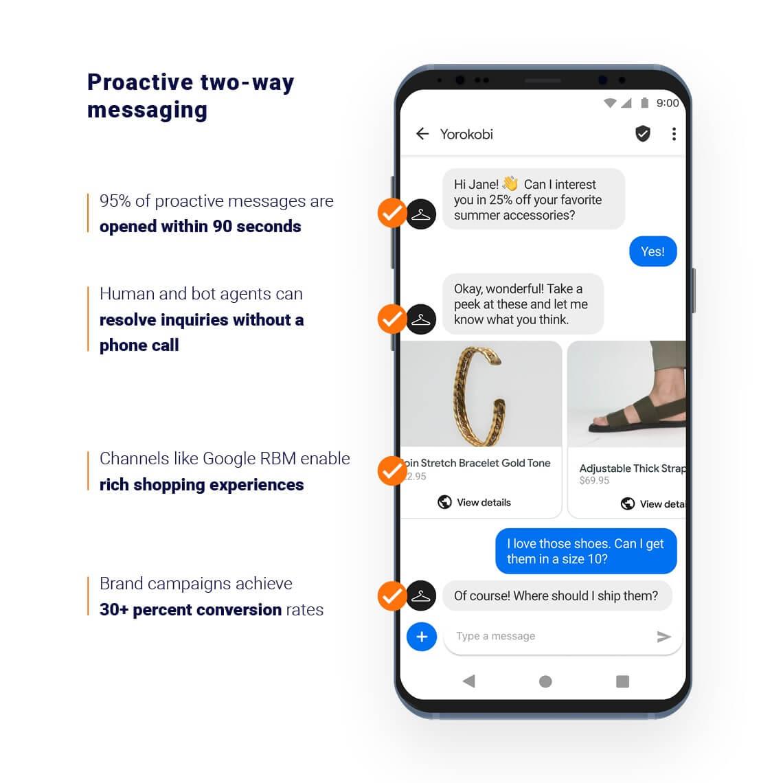 Phone describing how Proactive two-way messaging works