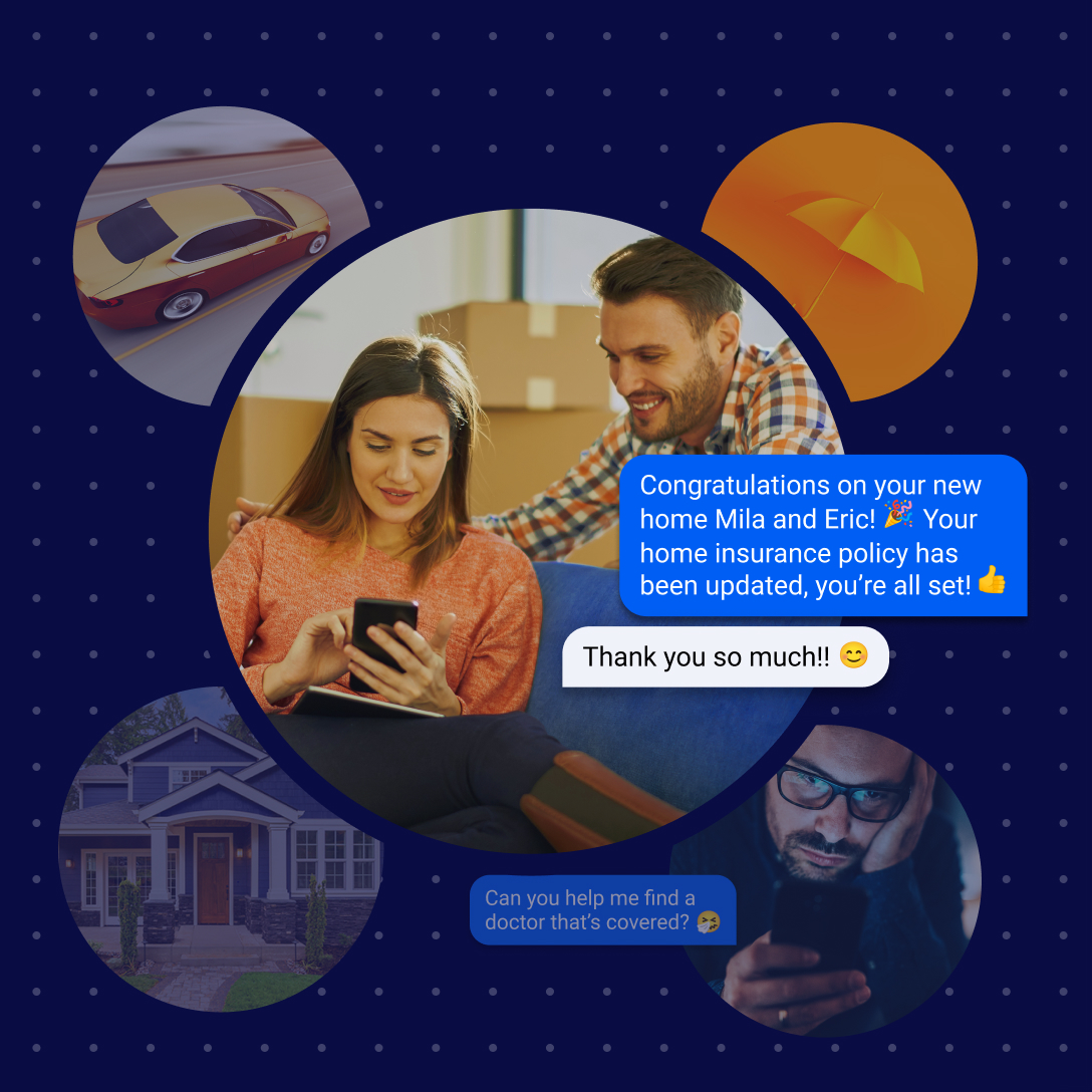 couple messaging their home insurance provder