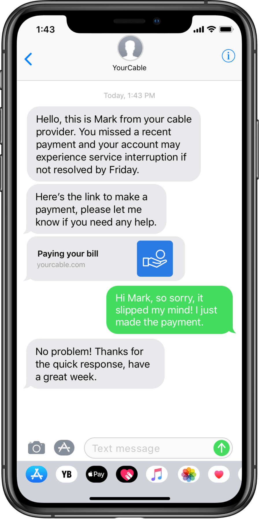 Sample text message about deliquent payments