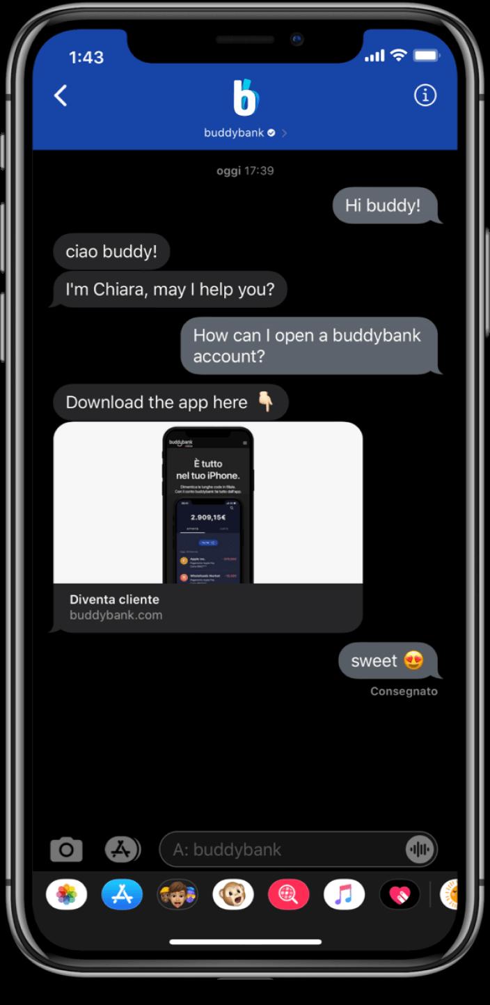 Buddybank helps customer open account on Apple Business Chat
