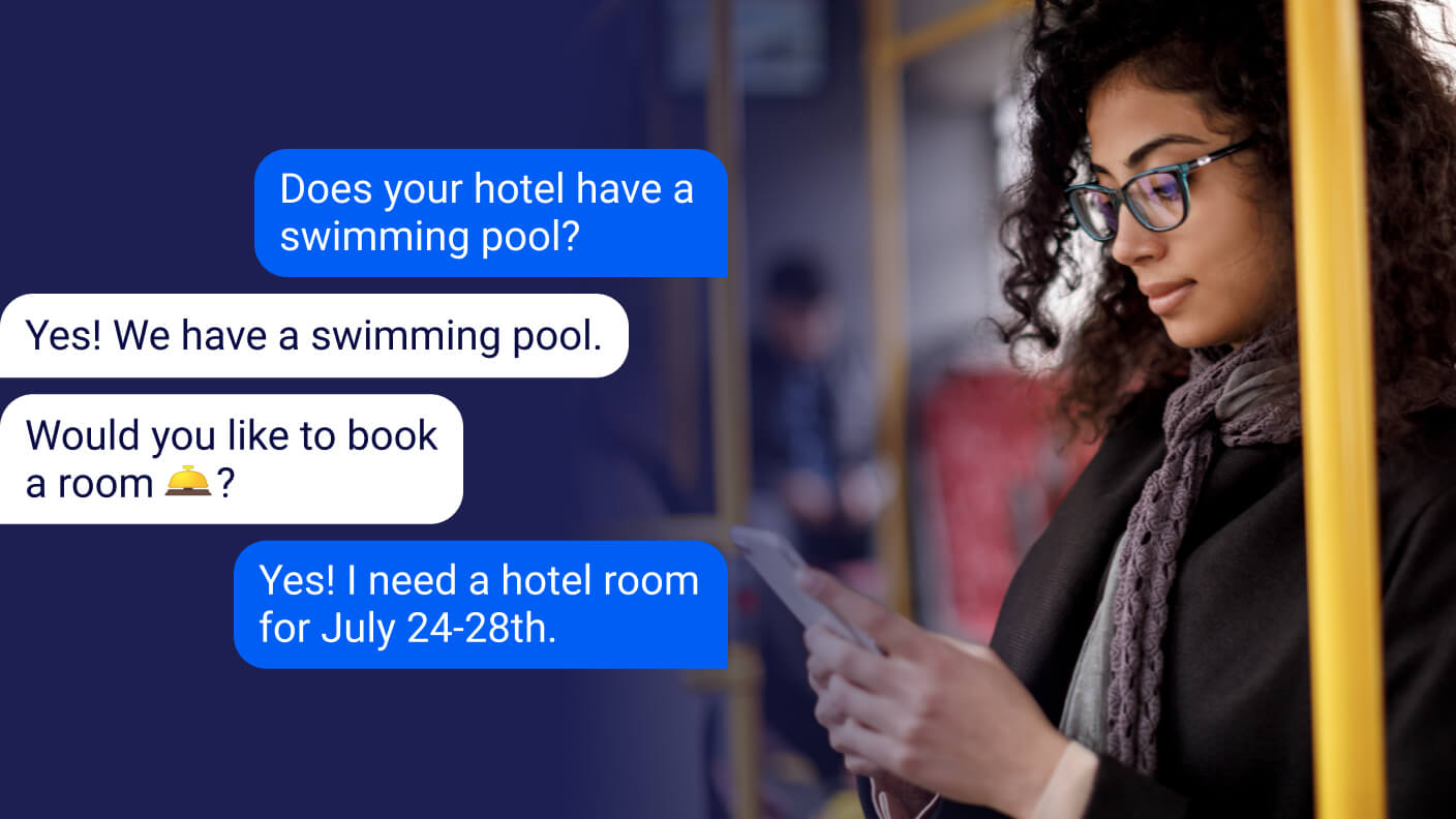 Woman booking a hotel by text message