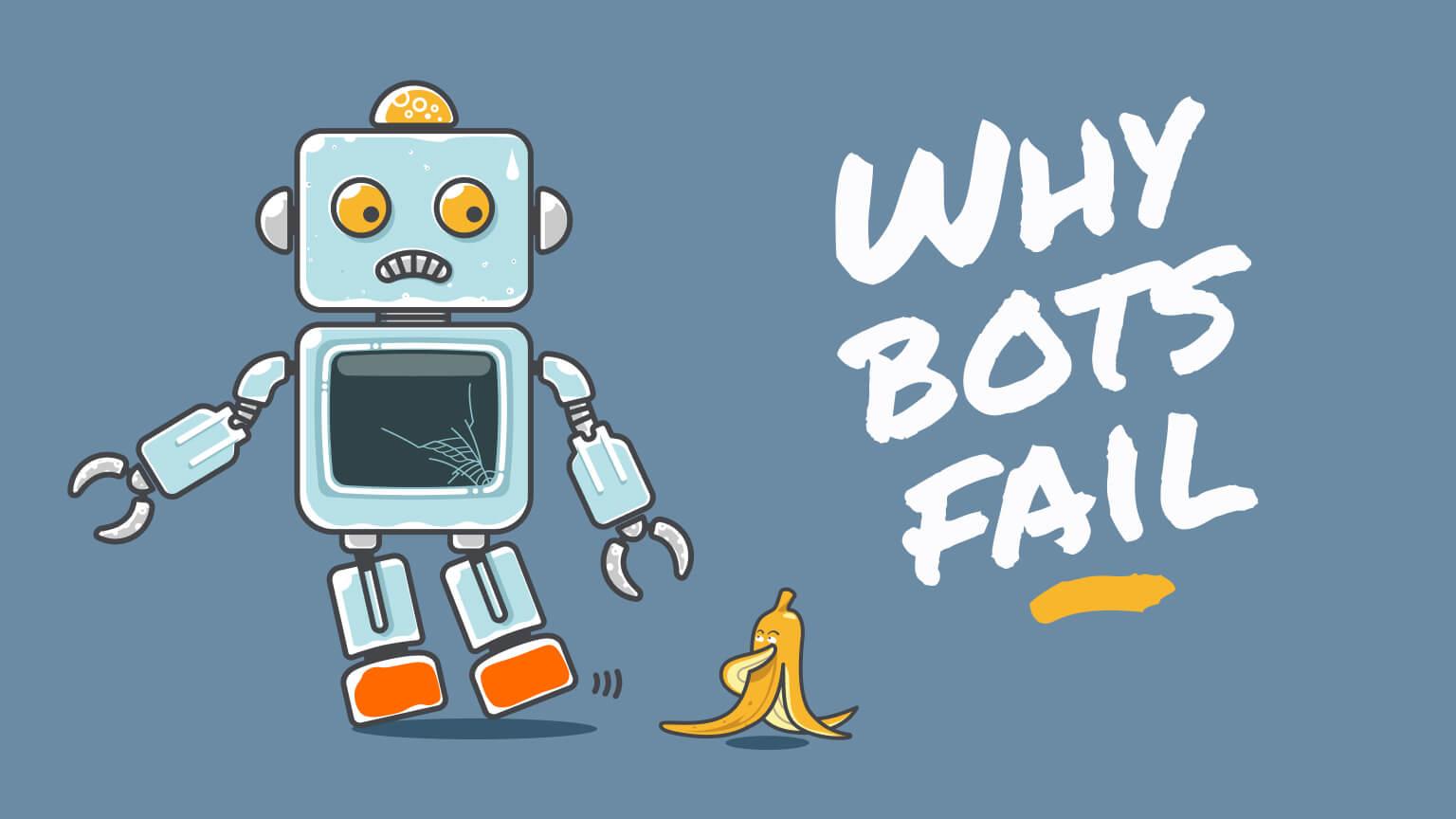 Robot slips on banana peel