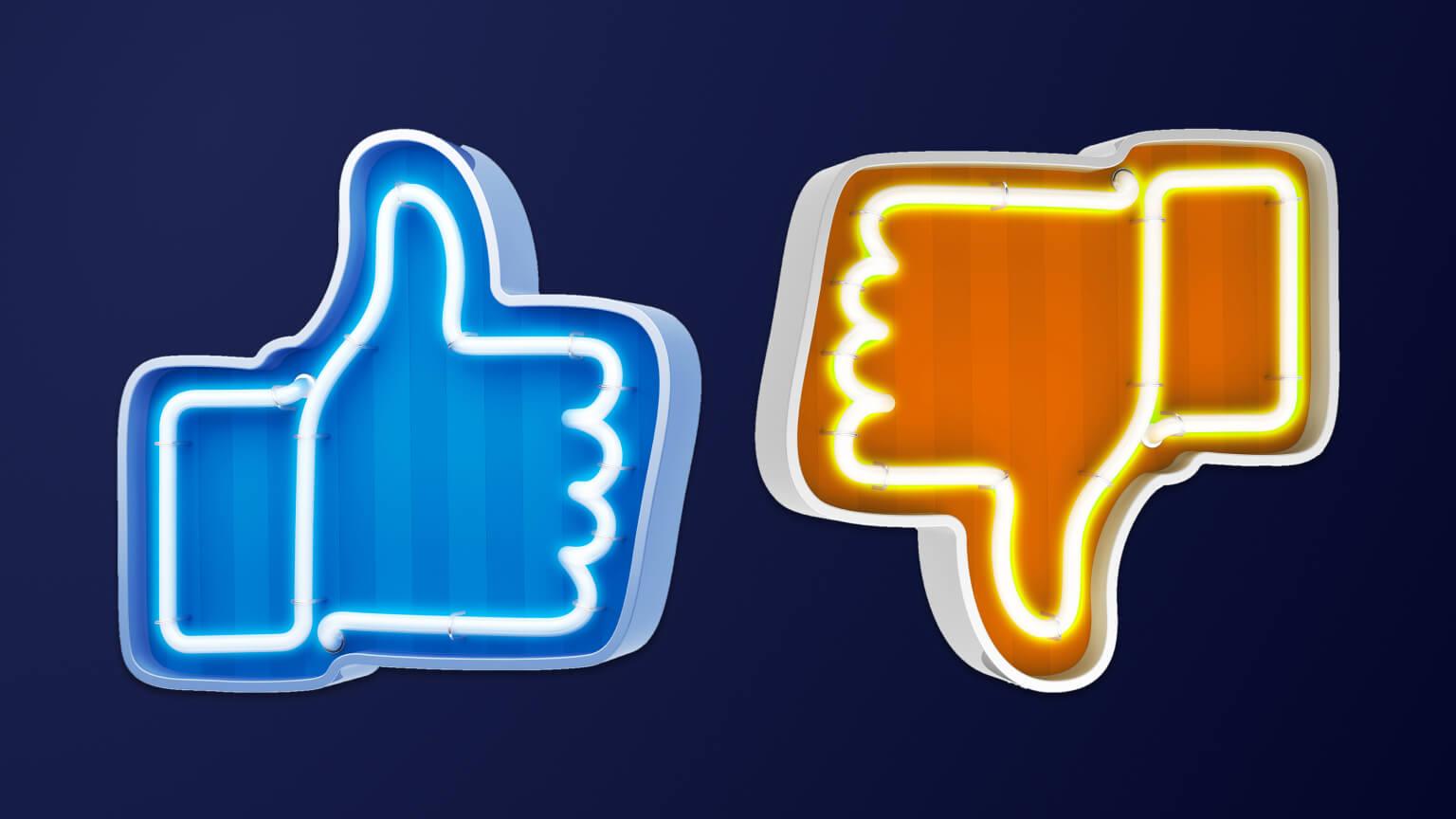Social media like and dislike icons