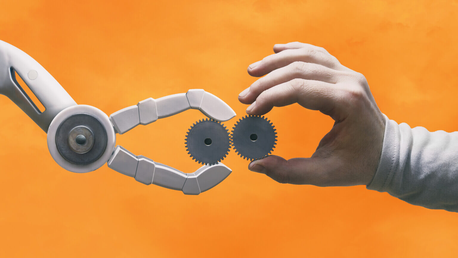 Bot and human hands holding cogs