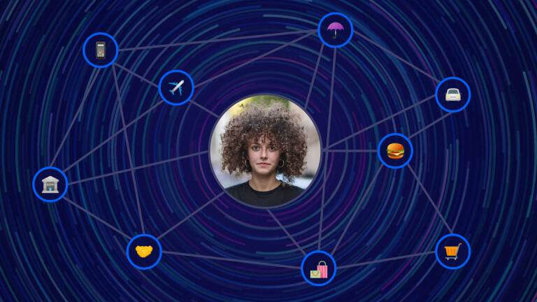 Woman surrounded by personalized experiences
