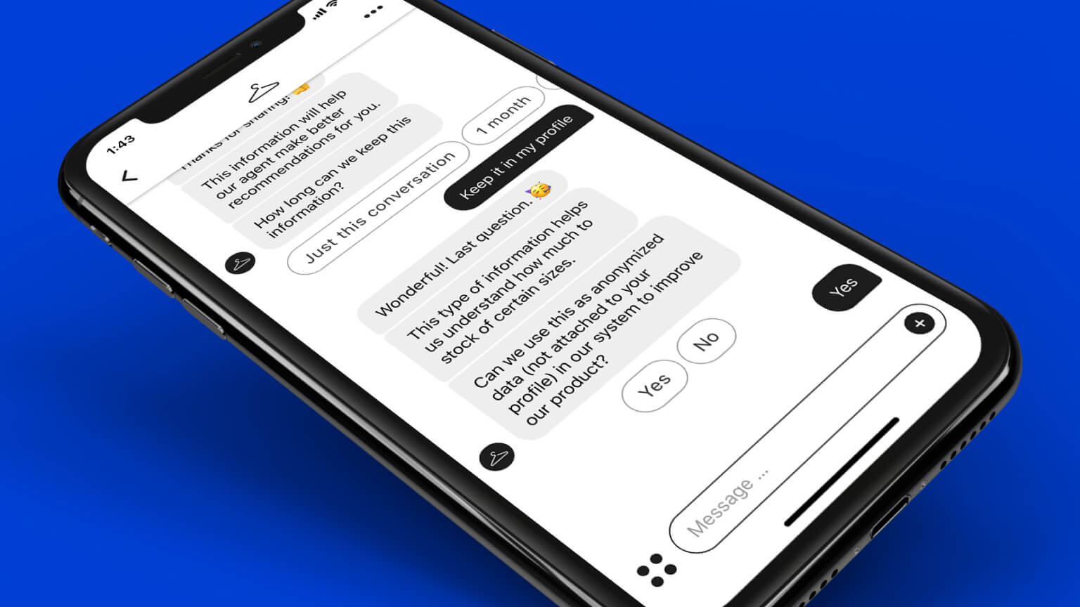 Text message with brand gathering PII and getting permission to use it for a shopper's personalization