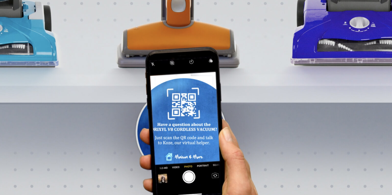 Shopper scanning QR code for virtual assistance while in store