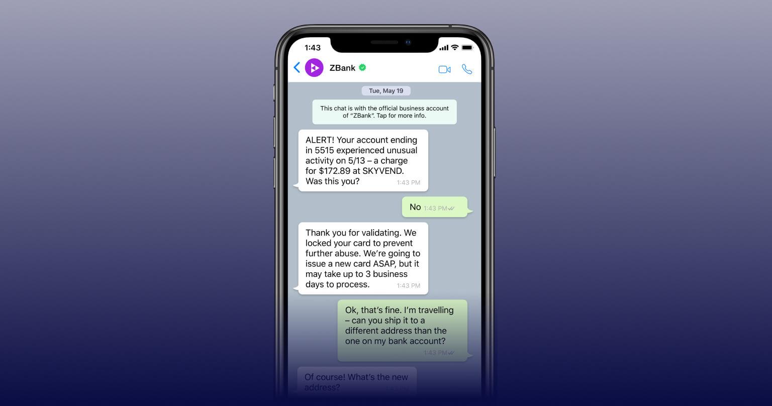 WhatsApp conversation between a consumer and bank