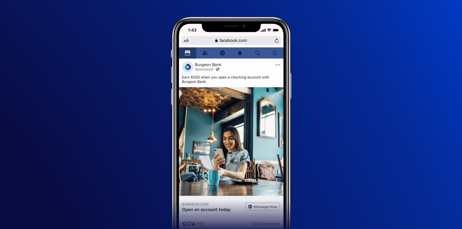 Facebook conversational ad example for a opening a bank account