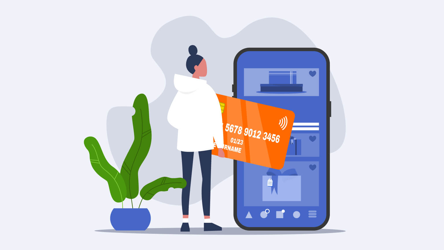Woman buying products online