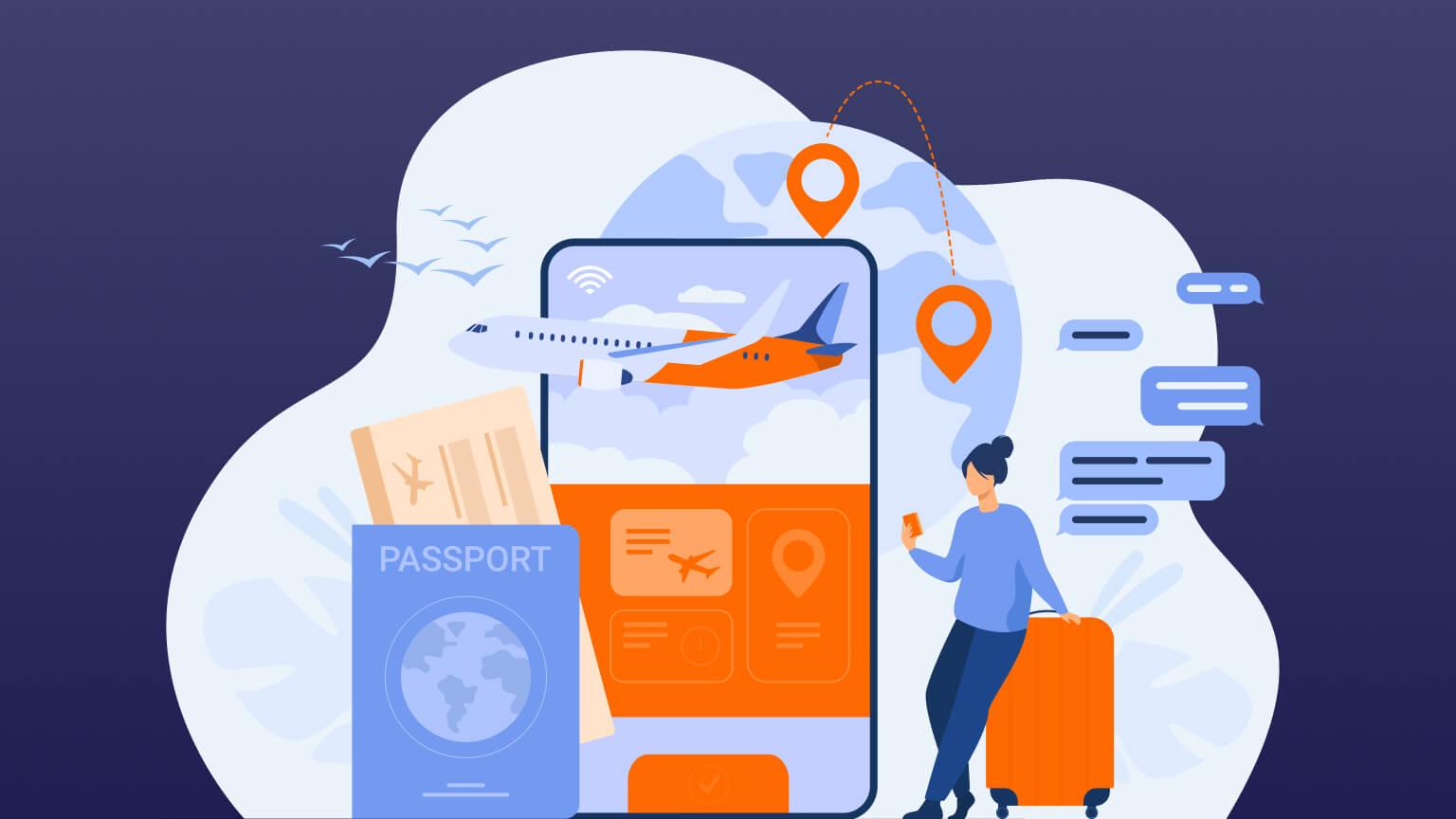 Person preparing for travel digitally