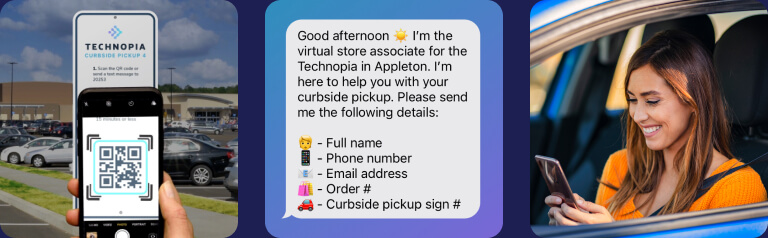 Shopper scans QR code in parking lot, texting with the store to pick up order