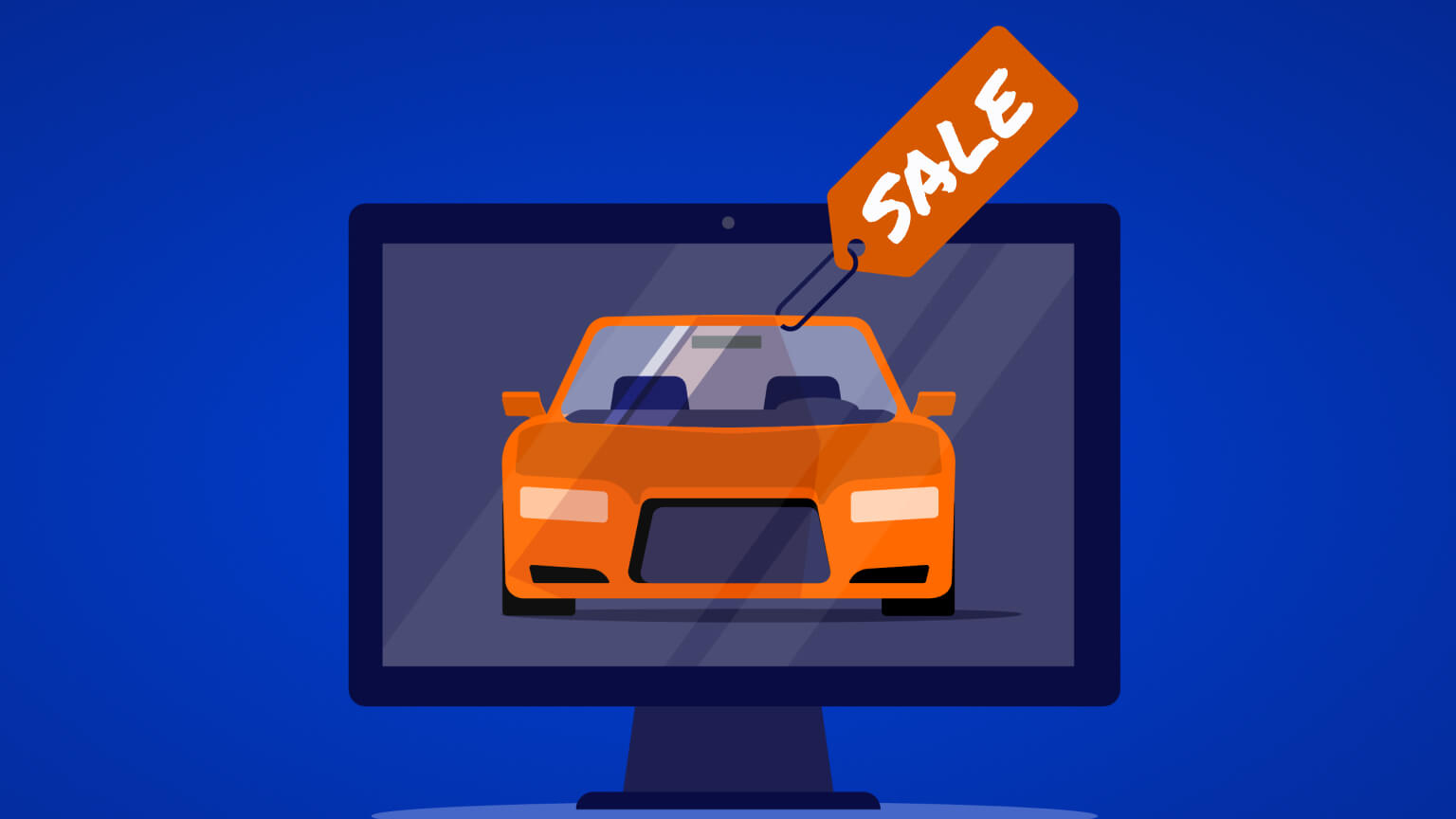 Illustration of buying cars online