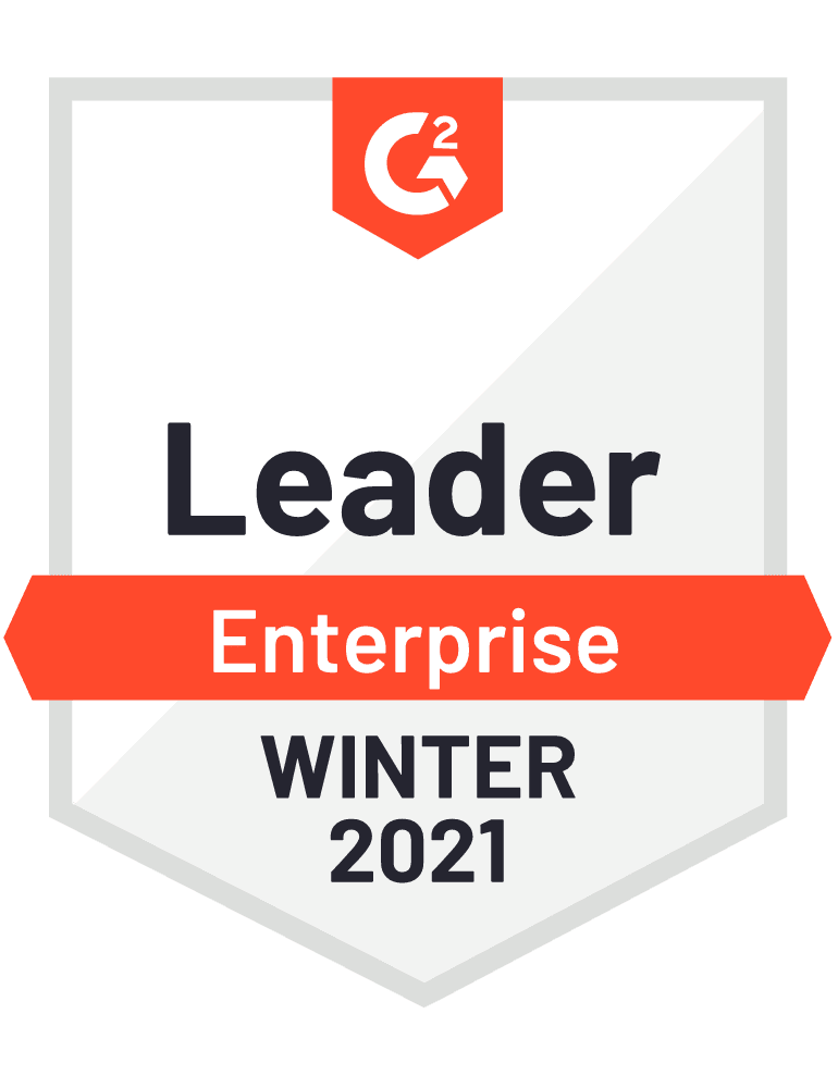 G2 Badge for Leader on Enterprise, Winter 2021
