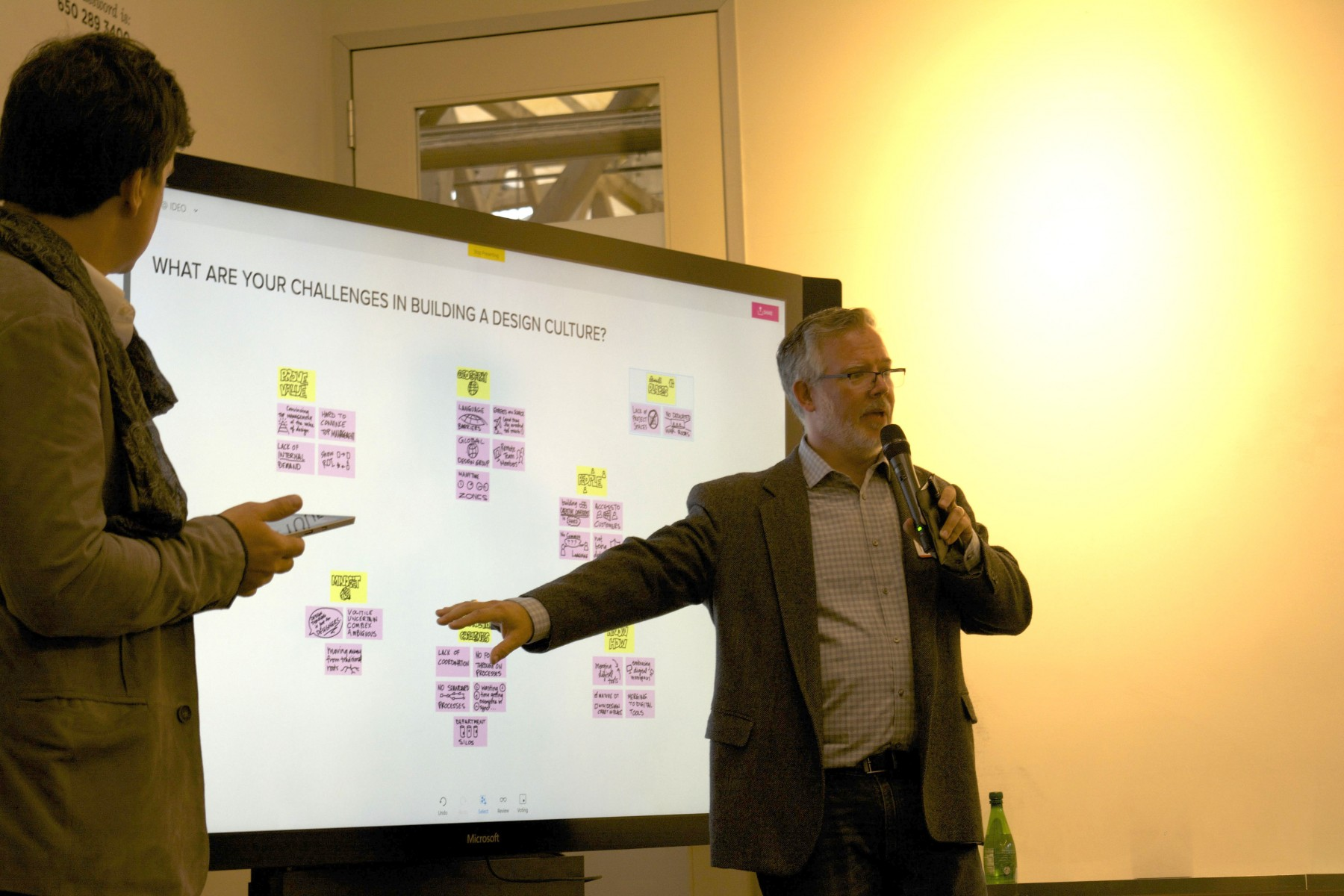 A Microsoft Surface Hub serves as a great space to gather ideas about remote collaboration and design thinking.