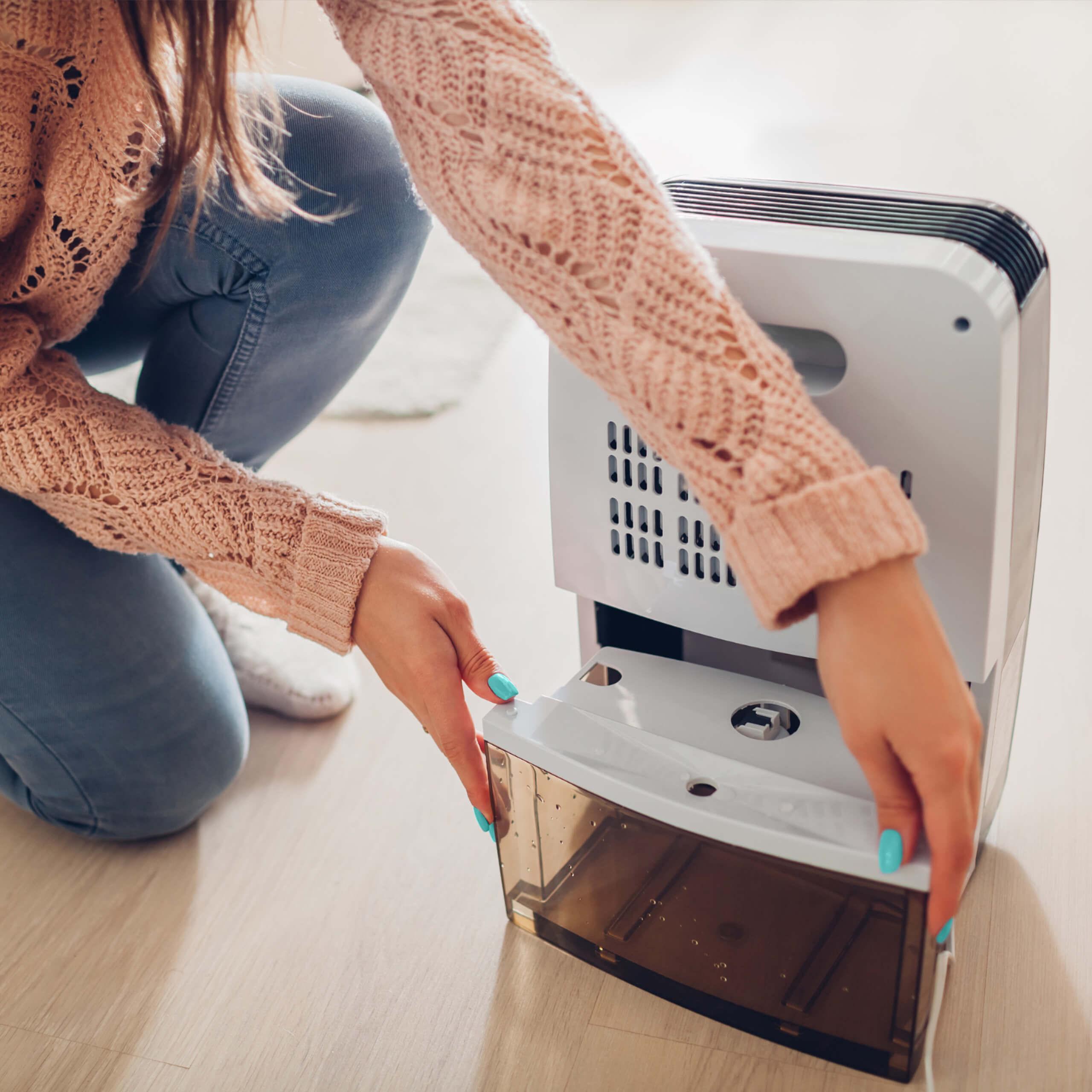 woman using dehumidifier