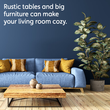 big couch and rustic wooden table