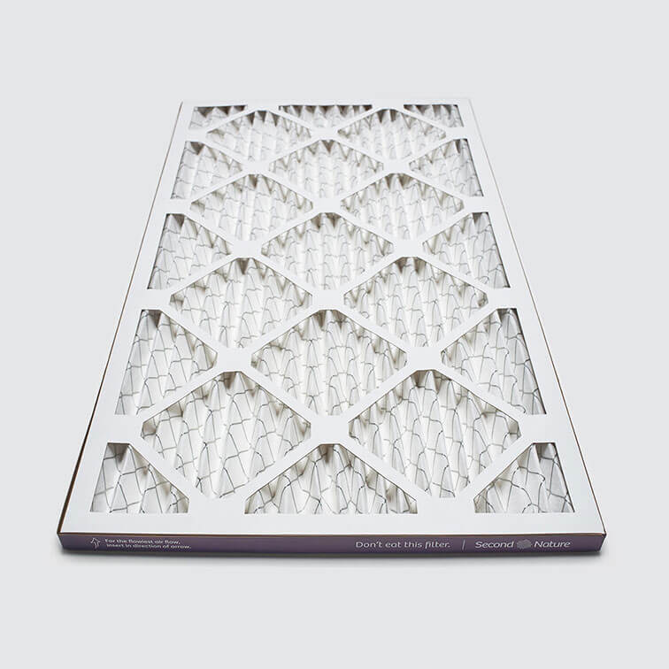 14x25x1 second nature air filter angle view