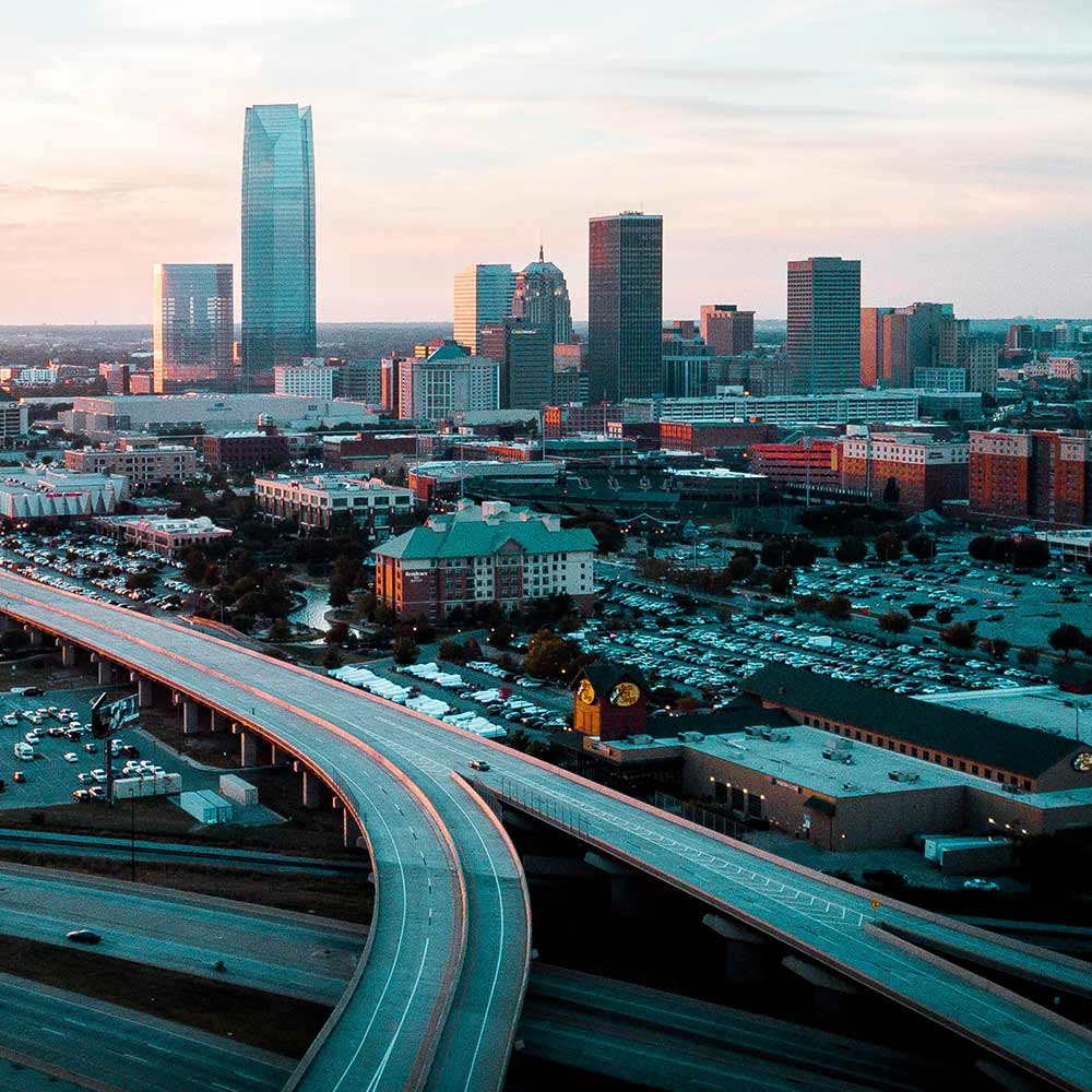 Downtown Oklahoma City skyline with roadway